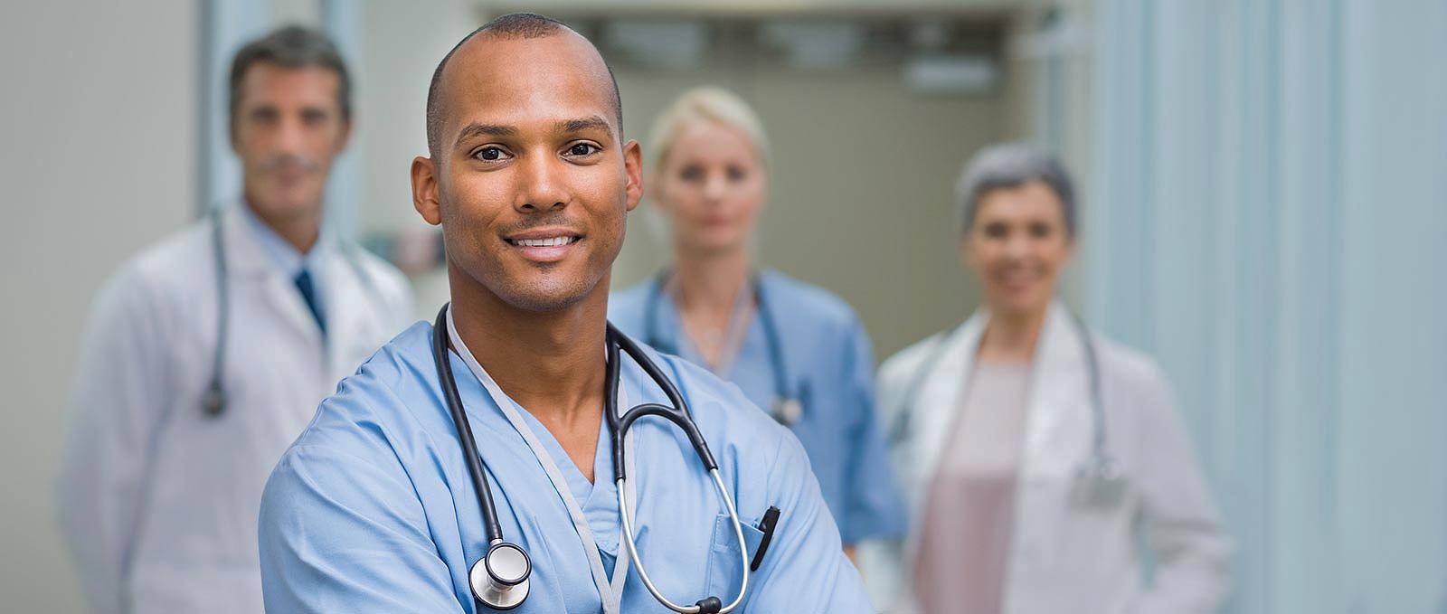 experienced male nurse in a hospital